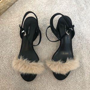 Zara fur and black block heel sandals 8